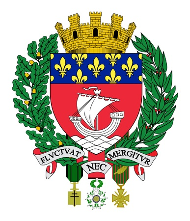 city coat of arms: Illustration of Paris city coat of arms in France.