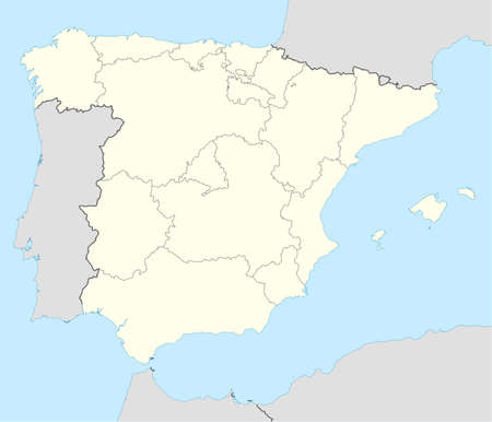 iberian: Illustrated map of the country of Spain showing the state borders. Stock Photo