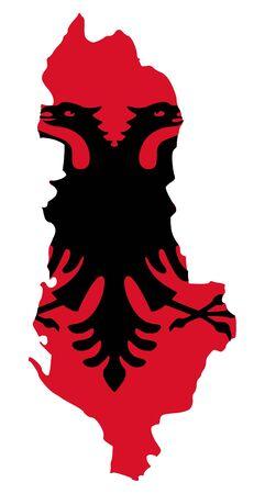 Illustration of Albania flag on map of country; isolated on white background. illustration