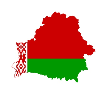 Illustration of Belarus flag on map of country; isolated on white background.