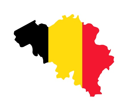 Illustration of Belgium flag on map of country; isolated on white background. illustration