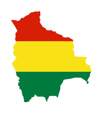 bandera de bolivia: Ilustraci�n de bandera de Bolivia en el mapa del pa�s; aislados sobre fondo blanco. Foto de archivo