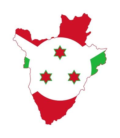Illustration of Burundi flag on map of country; isolated on white background. Stock Illustration - 9320559
