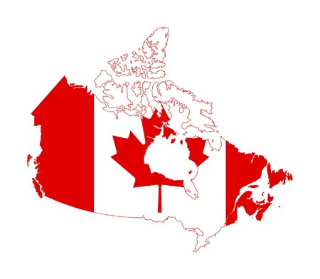 Illustration of Canada flag on map of country; isolated on white background.