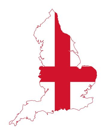 saint george: Illustration of English flag on map of country; isolated on white background.