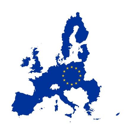 continente: Ilustración de la bandera de la Unión Europea en el mapa del continente; aislados sobre fondo blanco.