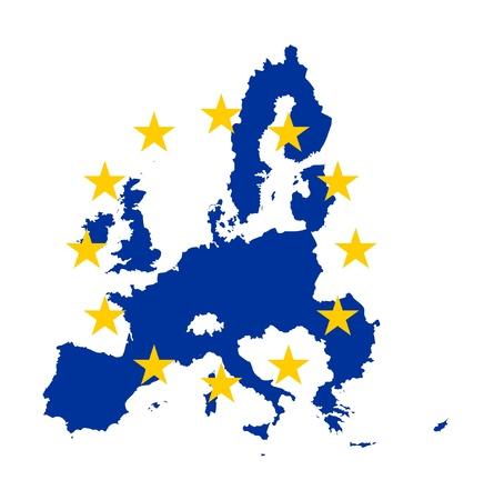 Illustration du drapeau de l'Union europ?enne sur une carte du continent; isol? sur fond blanc.