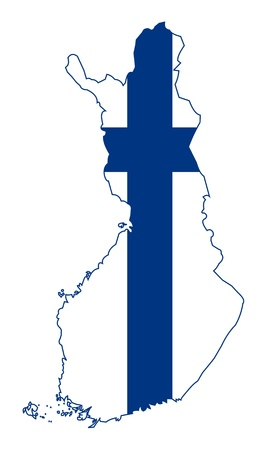 Illustration of Finland flag on map of country; isolated on white background. illustration