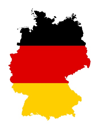 Illustration of Germany flag on map of country; isolated on white background. Standard-Bild