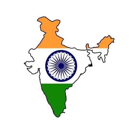 Illustration of the India flag on map of country; isolated on white background.