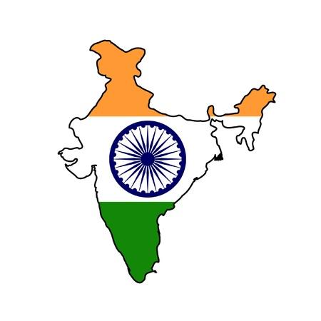 drapeau inde: Illustration du drapeau Inde sur la carte du pays. isol� sur fond blanc.