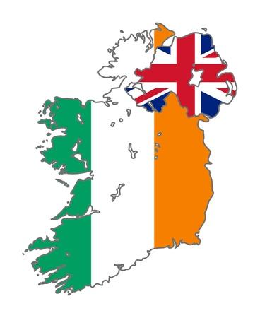 bandera de irlanda: Ilustraci�n de la bandera de Irlanda y de la Uni�n Jack en el mapa del pa�s; aislados sobre fondo blanco.