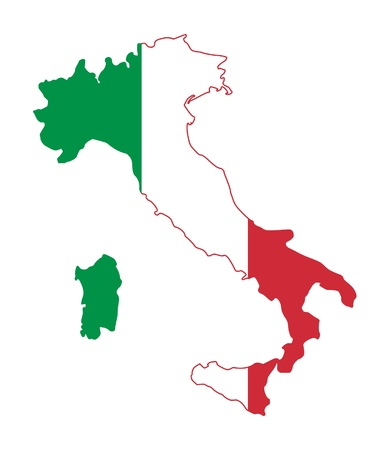 Illustration of Italy flag on map of country; isolated on white background.