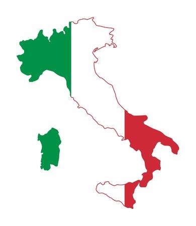 bandiera italiana: Illustrazione della bandiera Italia su mappa del paese; isolato su sfondo bianco. Archivio Fotografico