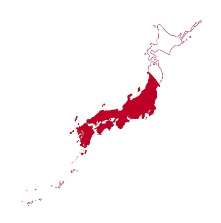 Illustration of the Japan flag on map of country; isolated on white background. illustration