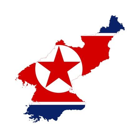 Illustration of the North Korea flag on map of country; isolated on white background. Stock Photo