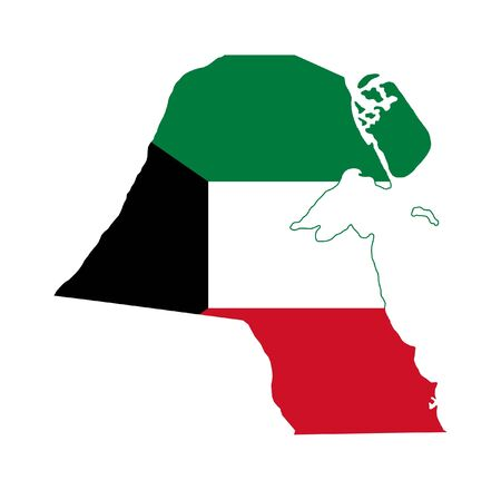 Illustration of the Kuwait flag on map of country; isolated on white background. illustration