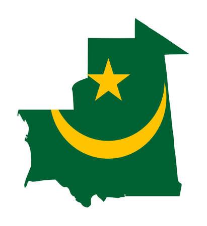 mauritania: Illustration of the Mauritania flag on map of country; isolated on white background. Stock Photo
