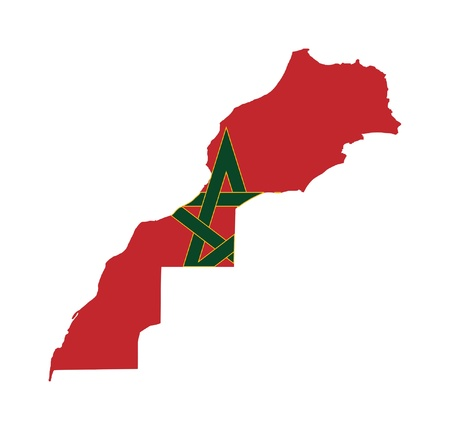 Illustration of the Morocco flag on map of country; isolated on white background.