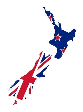 new zealand: Illustration of the New Zealand flag on map of country; isolated on white background.