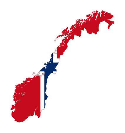 norwegian: Illustration of Norway flag on map of country; isolated on white background.