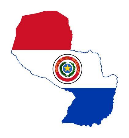 bandera de paraguay: Ilustraci�n de la bandera de Paraguay en el mapa del pa�s; aislados sobre fondo blanco.