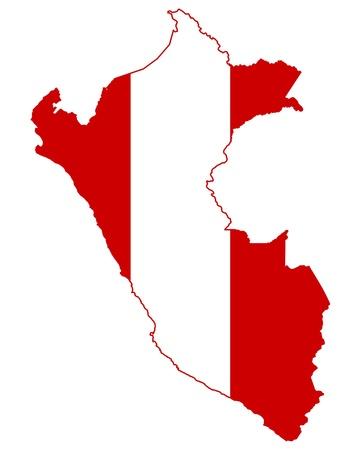 mapa peru: Ilustraci�n de la bandera de Per� en el mapa del pa�s; aislados sobre fondo blanco.