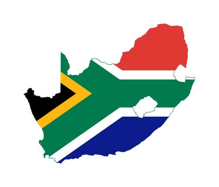 south africa: Illustration of the South Africa flag on map of country; isolated on white background.