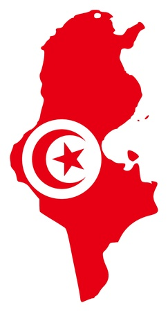 tunisia: Illustration of the Tunisia flag on map of country; isolated on white background.