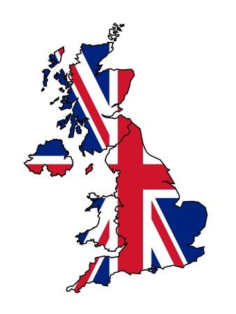 england: Illustration of United Kingdom flag on map of country; isolated on white background.