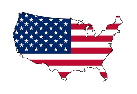 Illustration of American flag on map of country; isolated on white background.