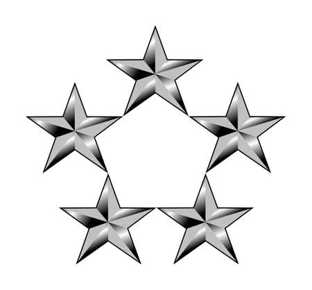 star path: Five or 5 silver stars showing rang of American general or admiral; isolated on white background.