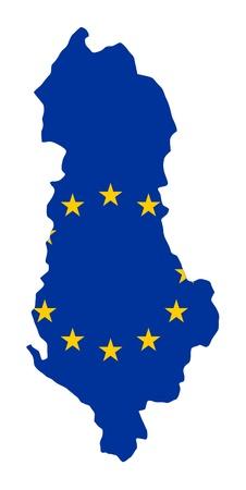 mag: European flag on mag of Albania; isolated on white background.