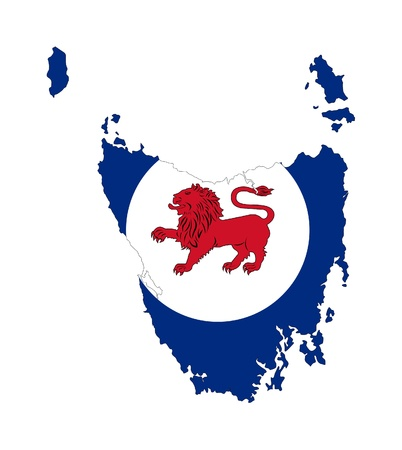 tasmania: State flag of Tasmania on map; isolated on white background. Stock Photo