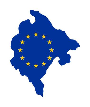 mag: European flag on mag of Montenegro; isolated on white background.