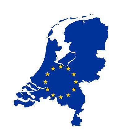 mag: European flag on mag of Netherlands; isolated on white background. Stock Photo