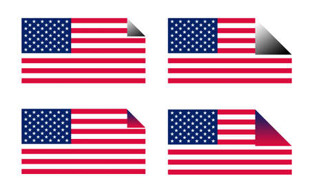 upturned: USA flag sticks or labels; isolated on white background.