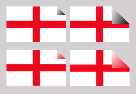 saint george: Set of England or English Cross of Saint George labels or stickers isolated.