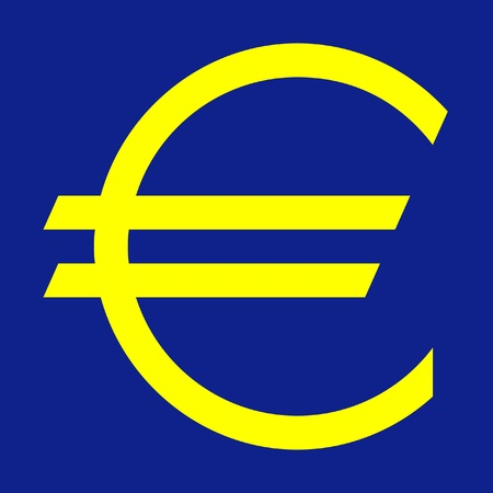 denominational: European currency symbol in yellow and blue colors of the European Union.