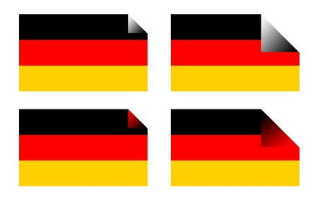 upturned: German flag labels or stickers isolated on white background.