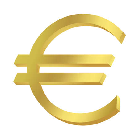 denominational: Gold Euro sign or symbol; isolated on white background. Stock Photo