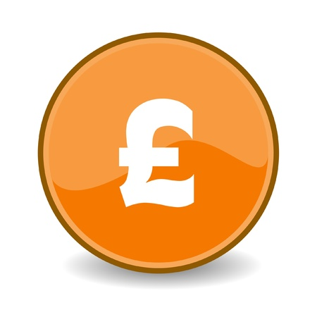 denominational: Illustration of Pound Sterling sign on orange button; isolated on white background.