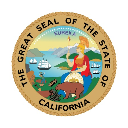 Seal of American state of California; isolated on whiite background