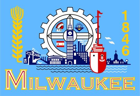 milwaukee: Flag of Millwaukee city in the U.S.A  Stock Photo