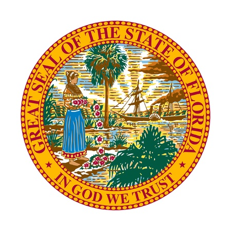 the official: Seal of American state of Florida; isolated on whiite background.