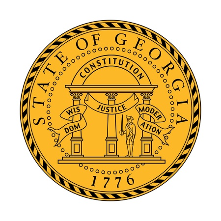 states: Seal of American state of Georgia; isolated on whiite background.