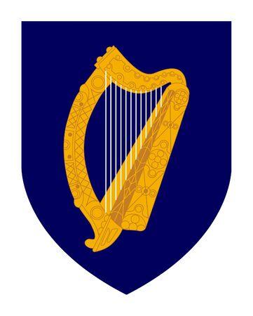 Harp on Irish coat of arms shield; isolated on white background. photo