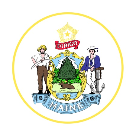 maine: Seal of American state of Maine; isolated on whiite background. Stock Photo