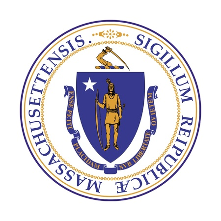 massachusetts: Seal of American state of Massachusetts; isolated on whiite background. Stock Photo