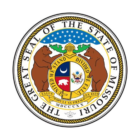 missouri: Seal of American state of Missouri; isolated on whiite background Stock Photo